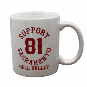 support 81 sac hell valley white mug with red text