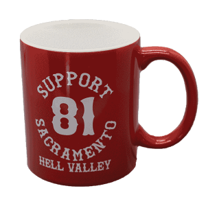 support 81 sacramento hell valley coffee mug, red with white text