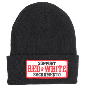 black beanie, support red and white, patch