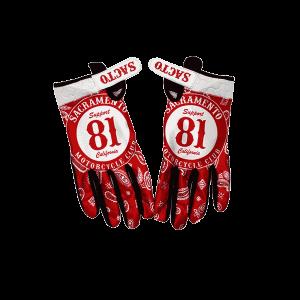 riding gloves, 81 support badge on red bandana, backs