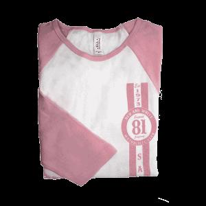ladies pink sleeve baseball tee