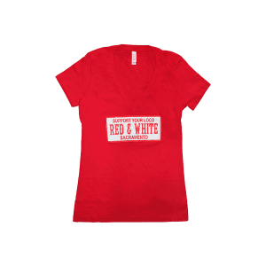 ladies v neck support your loco red and white, red