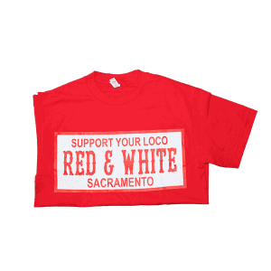 mens short sleeve tshirt, support your loco red and white, front